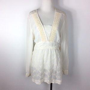 J. Jill Floral Crochet Lace Boho Blouse Size L